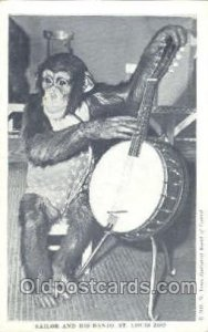Sailor & his Banjo, St. Louis Zoo USA Monkey Unused two pin wholes in Card, r...