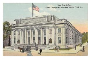 York PA New Post Office Artists Rendering Vtg Postcard