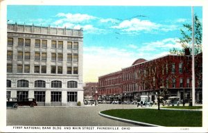 Ohio Painesville First National Bank Building and Main Street 1930 Curteich