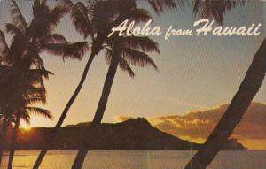 Hawaii Aloha Sun Rising Over Diamond Head 1970