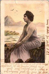 Lady on Rock India Postcard used 1905 to Calcutta