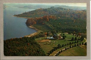 Postcard OH Eastern Ohio Tappan Lake Aerial View Water Trees House -799