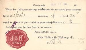 Cincinnati OH Postal Receipt~Julian & Kohenge Shoe Logo 1913~KM Hagen, Fargo ND