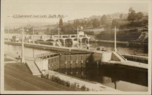Seattle WA Canal Locks c1915 Real Photo Postcard