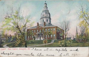 ANNAPOLIS MD - STATE CAPITOL Building - 1905 rear view / SIMILAR TODAY