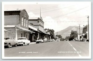 Fort Jones CA~Main Street~Meat Market~Woody @ Mobilgas Station~1950s Cars RPPC