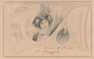 Art Nouveau Female , M.M. VIENNE , PU-1901