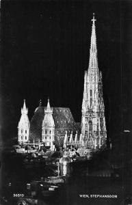 Austria Wien Stephansdom, Vienna Cathedral at Night 1954