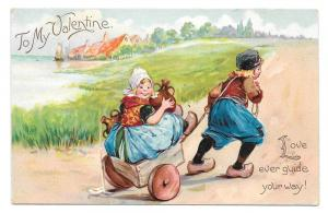 Tuck Valentine Dutch Boy Pulling Girl Cart Uphill Postcard