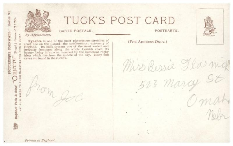 LIZARD CORNWALL UK KYNANCE COVE TUCK OILETTE #7176 PICTURESQUE POSTCARD c1910