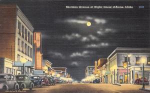 Coeur d'Alene Idaho~Sherman Avenue @ Night~Storefronts~1940s Postcard