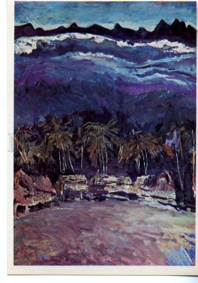 153510 OCEANIA Papua New Guinea Village Bongu Night Plakhova