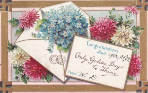 CONGRATULATIONS, 1900-10s; Envelope with Forget-Me-Nots, Chrysanthemums, Gold...