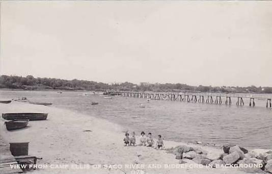 Maine Saco River With Biddeford In Background View From Camp Ellis Real Photo