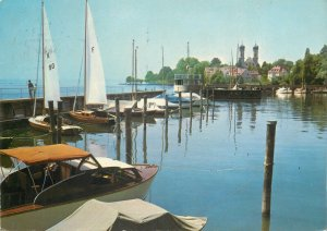 Postcard Germany Friedrichshafen am Bodensee yachting harbor  sailing boats