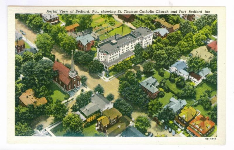 Aerial View of Bedford, Pennsylvania unused Curteich linen PPC