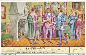 Liebig Trade Card s1736 Quinten Matsys No 4 Stadssekretaris Pieter Gillis ste...