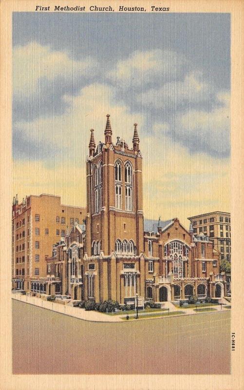 Houston Texas~First Methodist Church~1951 Postcard / HipPostcard
