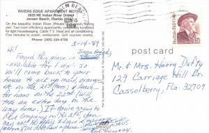 JENSEN BEACH FLORIDA~RIVERS EDGE APARTMENT MOTEL~INDIAN RIVER DRIVE POSTCARD