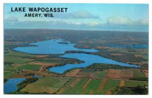 Aerial View of Lake Wapogasset, Amery, WI Postcard *5E5