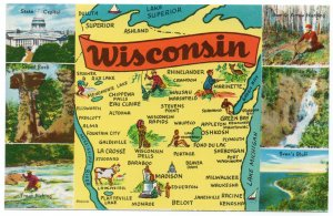 10699 Map of Wisconsin Postcard 1958