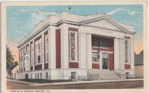 Illinois Ill Postcard 1920 MARION First ME CHURCH Building
