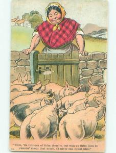 Pre-Linen Comic FARM WOMAN LOOKING AT MANY PIGS AB8811