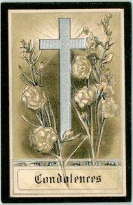 1910s CONDOLENCES Embossed Greetings Postcard Silver Cross / Flowers Funeral