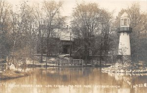 G21/ Detroit Michigan RPPC Postcard 1912 Light House Log Cabin Palmer Park