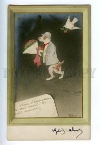 150245 Dressed Dog GREAT DANE Pigeon by ESPINASSY vintage PC