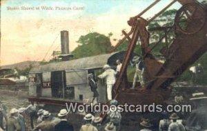 Steam Shovel at Work Panama Canal Panama Glue on back