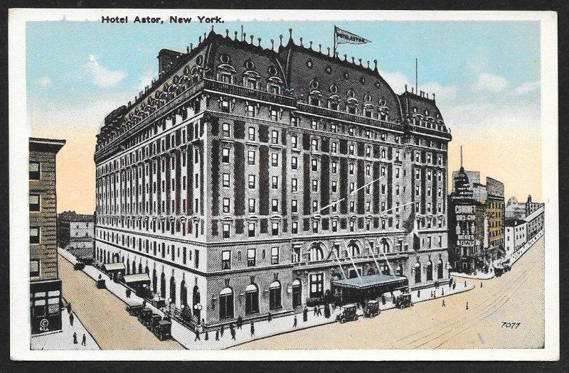 Astor Hotel New York New York Unused c1910s