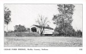 D54/ Indiana In Postcard Cedar Ford Covered Bridge c1940s Shelby County 4