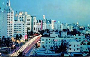 Florida Miami Beach Collins Avenue At Night 1963