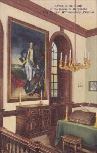Office Of The Clerk Of The House Of Burgesses The Capitol Williamsburg Virginia