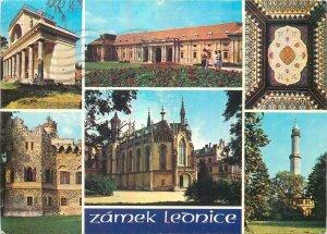 Postcard CZECH REPUBLIC multi view zamek lednice church mosaic towers garden