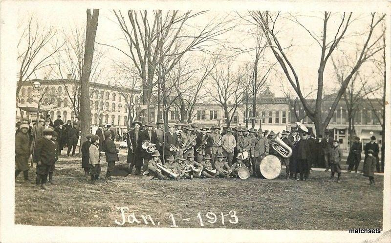 1913 Mount Pleasant Iowa Brass Band Music RPPC Real Photo postcard 972