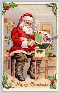 Christmas~Santa in Workshop~Paints Toy House~Artist Palette~1915 Stecher 227 C