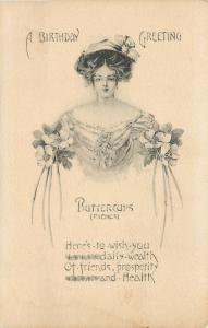 Lovely Lady Buttercups~Off-Shoulder Gown~Flower Arms~Birthday Riches~Artist~1908