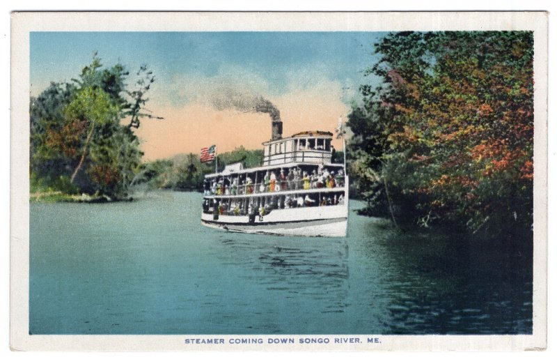 Steamer Coming Down Songo River, Me.