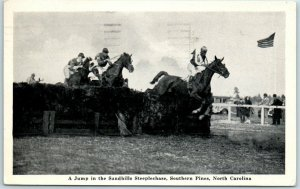 Southern Pines, NC Postcard HORSE RACING A Jump in the SANDHILLS STEEPLECHASE