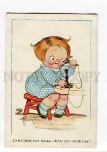 264864 Girl w/ TELEPHONE by DRAYTON Vintage R&N postcard