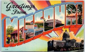 MISSOURI Large Letter Postcard w/ State Capitol Building - Linen c1940s UNUSED