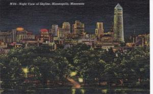 Minnesota Minneapolis Night View Of Skyline Curteich