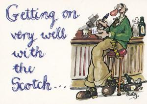 Scotsman Drunk His Love Affair With Scotch Bottle Scottish Comic Humour Postcard