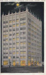 TOPEKA, Kansas, 1910-20s; Night View, National Reserve Life Building