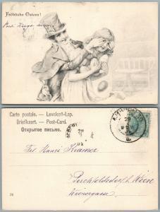 Happy Easter  Romantische Austro-Hungarian Antik Kunst Postkarte