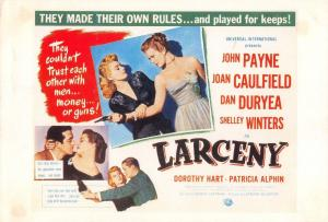 Film Movie Postcard Larceny 1948 Universal HUGE SIZE 205x140mm