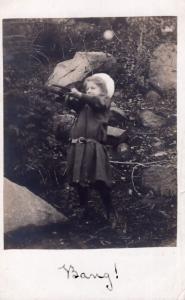 Child Shooting With Toy Rifle Gun Antique Portrait BANG Postcard