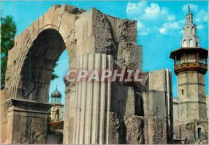 Postcard Modern Damascus Street right and the Roman Arc